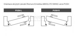 Filomuro skryté zárubně do SDK 1000/2000/125 PUSH ABSOLUTE Swing Ermetika pro otočné dveře 1-křídlé