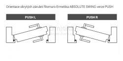 Filomuro skryté zárubně do SDK 1100/2000/72 PUSH ABSOLUTE Swing Ermetika pro otočné dveře 1-křídlé